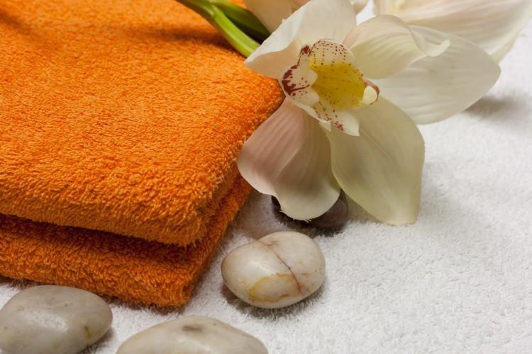 handdoeken en stenen